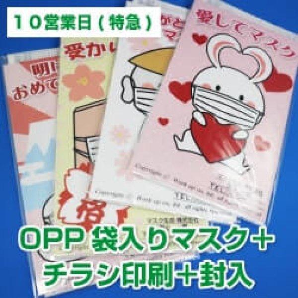 画像1: 【10営業日】OPP袋入り販促マスク(個別包装3層マスク)  +チラシ印刷+封入 (1)