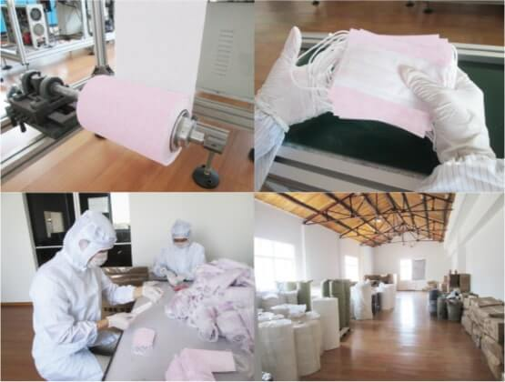 マスク生産工場の様子