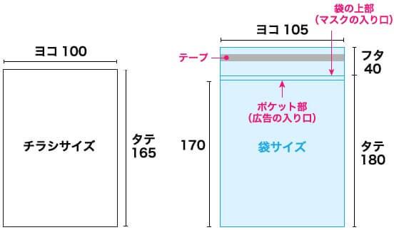 チラシサイズ:ヨコ100xタテ165 袋サイズ:ヨコ105xタテ180+フタ40